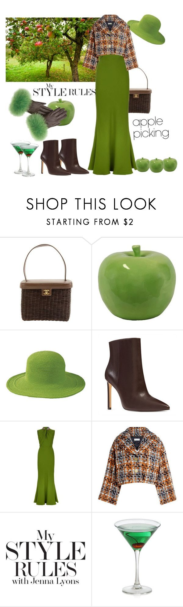 """""""Let's pick some apples"""" by ellenfischerbeauty ❤ liked on Polyvore featuring Chanel, Urban Trends Collection, San Diego Hat Co., Nine West, Alexander McQueen and Sonia Rykiel"""