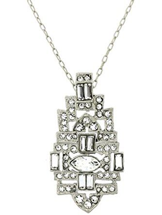 Kenneth Jay Lane Silver and Crystal Deco Pendant ❤ Kenneth Jay Lane