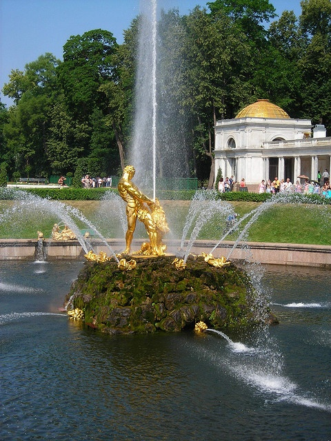 Golden fountain in Peterhof, Russia    Peterhof (Petrodvoretz) is known as the Russian Versaille. Peter the Great desire to build an imperial palace in the suburbs of his new city. Here are famous parks, gardens and fountains.