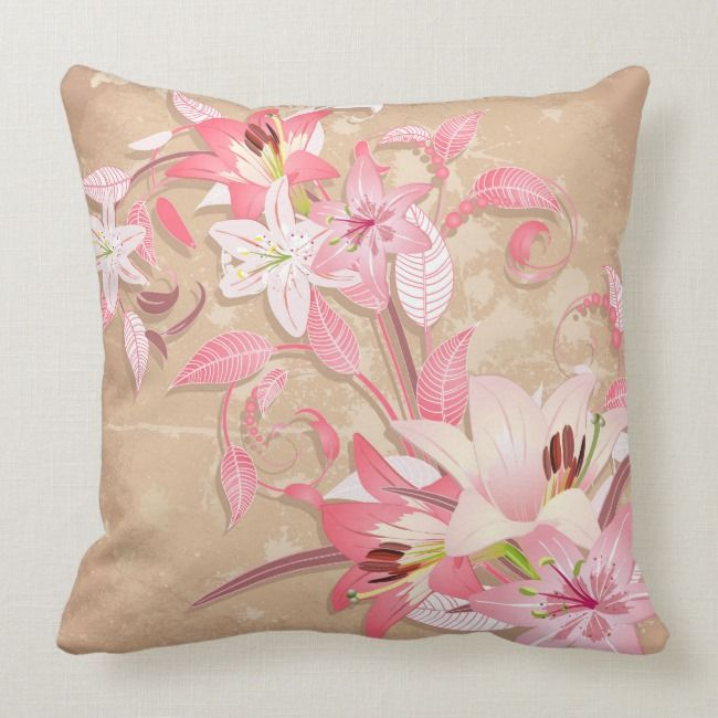 Lillium Floral Illustration Throw Pillow Zazzle Com Floral Illustrations Flower Backgrounds Flower Illustration
