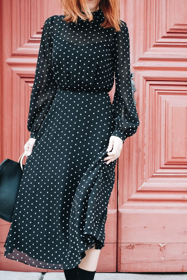 polkadot midi dress; massimo dutti; how to style a dress for fall; dress with boots; sock boots