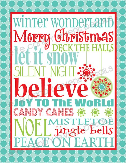 Eye Candy Creative Studio: {FREE Christmas Subway Art} print for download- frame it,, make a card,, endless ways to share