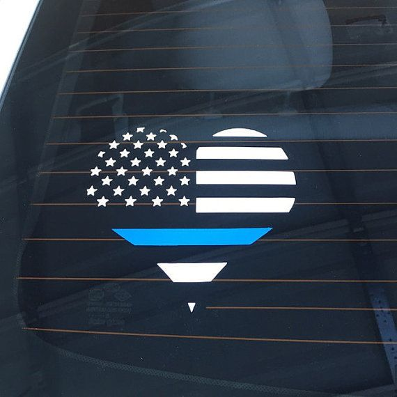 SALEPolice Thin Blue Line Decal heart back the blue