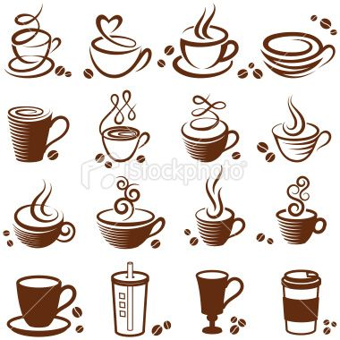 Coffee cup vector white icon set Royalty Free Stock Vector Art Illustration