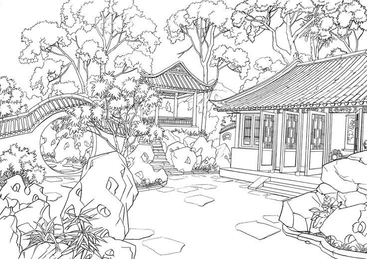Japanese Garden Coloring By YozoraMikazuki