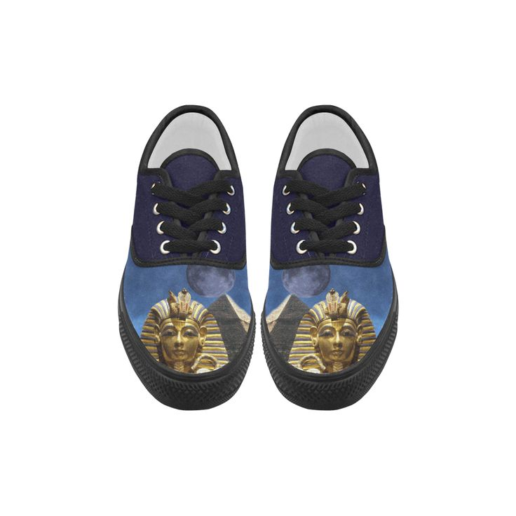 King Tut and Pyramid Aries Canvas Platform Men Shoes
