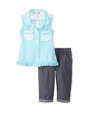 58% OFF Speechless Girl's 2-6X Button-Up Capri Set (Aqua)