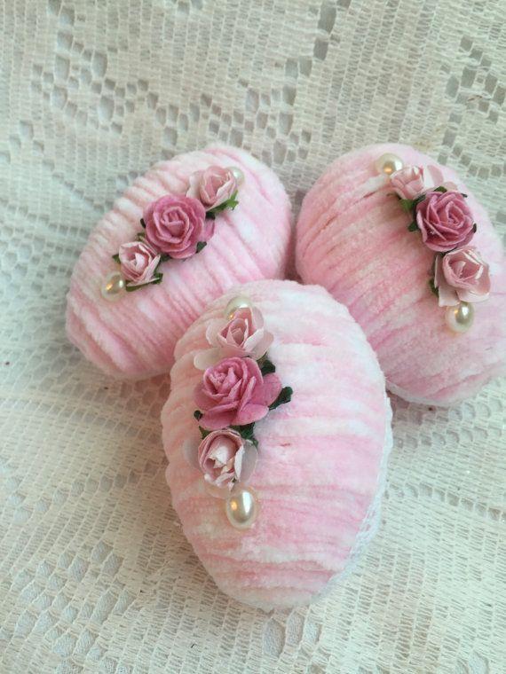 "Shabby 3 Pink Chic Chenille Easter/Spring 4"" EGGS Bowl fillers Roses ECS schteam sct SVFTeam"