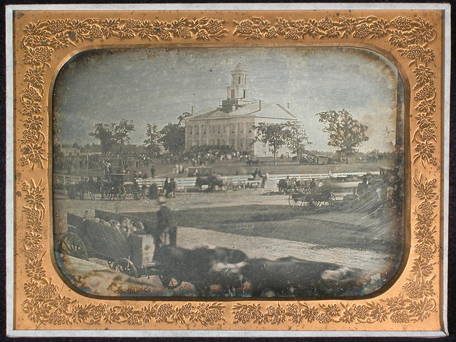 Isaac A. Wetherby image of Old Capitol at the time of the 1854 Johnson County fair. [Note: the image in a daguerreotype is reversed.] Isaac A. Wetherby Collection.