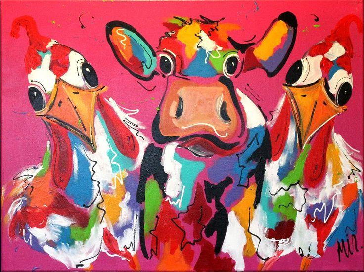 Koe en Kippen    Titel: Koe en Kippen Materiaal: Acryl op doek Afmeting: 80 x 60 x 2 Gesigneerd: Ja Ingelijst: Nee (3D geschilderd)  Galerie prijs: €460,- Vraagprijs: €250,-  Status: TE KOOP  Interesse in dit kunststuk? Stuur dan een mailtje naar Info@TulipArt.eu of vul het contact formulier in. #Art #Animals #Kunst #Dieren #Schilderijen #Schilderij