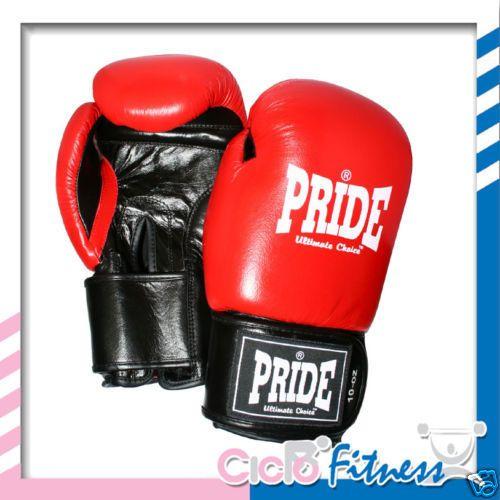 Pride Guantoni Boxe Kick Boxing in Pelle da 10 Oz Red