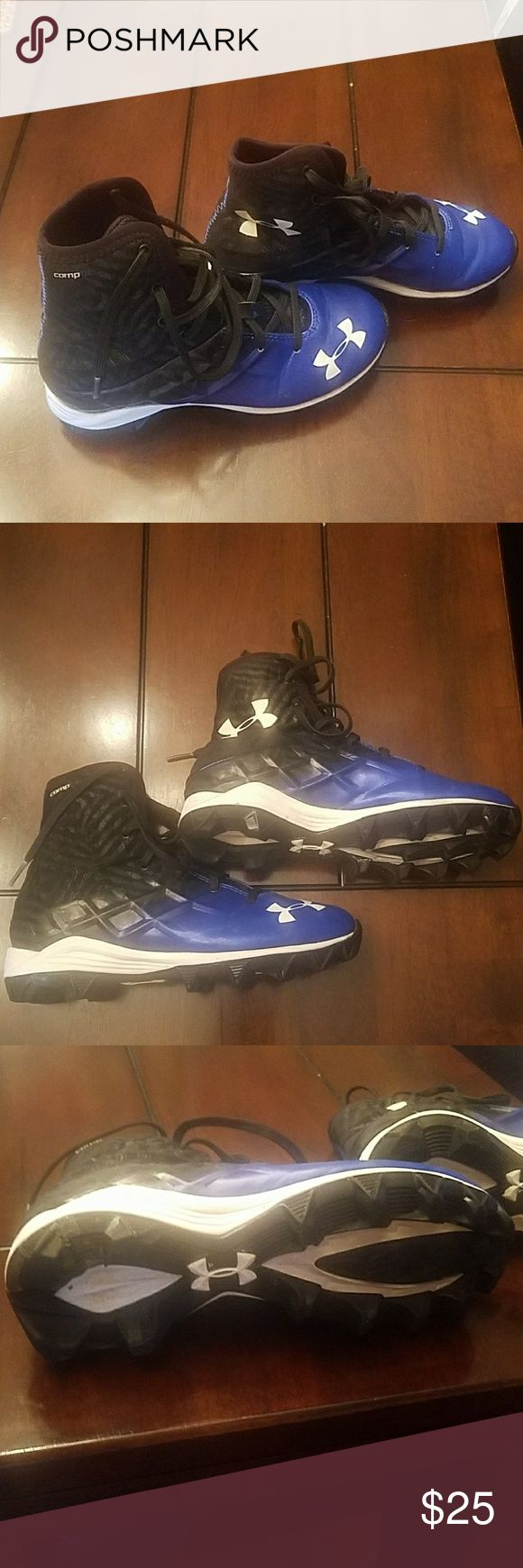 Under Armour High Top Football Cleats - size 3 Royal blue and black Youth boys football cleat - size 3  High top cleat  Worn 1 season.  Easily can be used for 1 season or as a practice cleat Under Armour Shoes Sneakers
