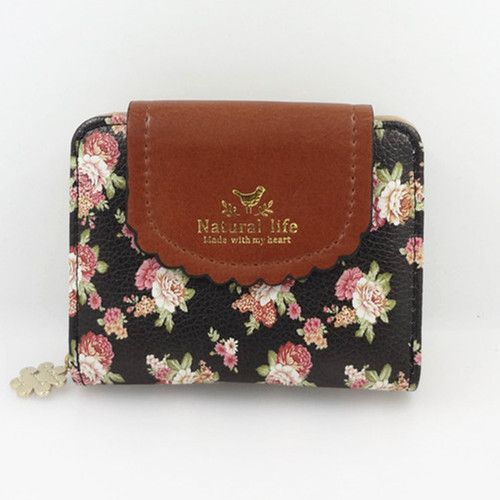 lovely romantic black wallet with a floral print.