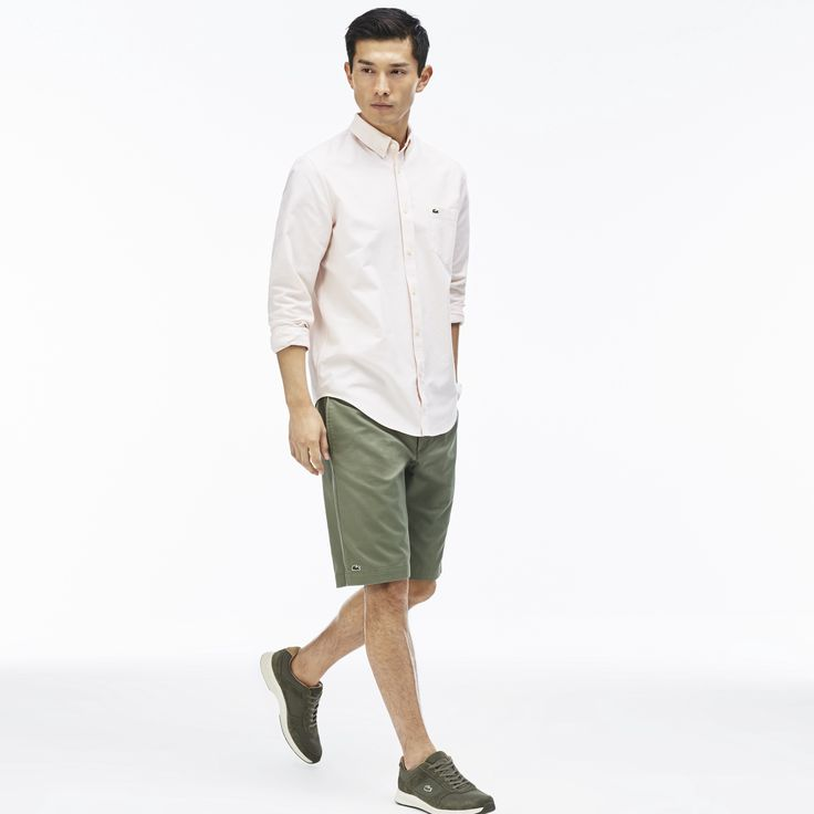 LACOSTE Men's Classic Gabardine Bermuda Shorts - army green. #lacoste #cloth #