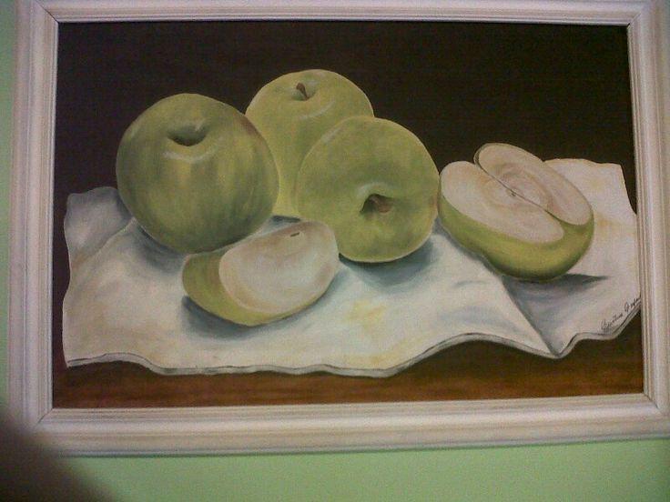 Manzanas pintadas al óleo.
