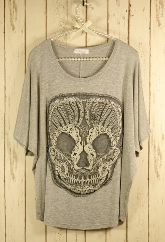 Lace Skull T-Shirt in Grey