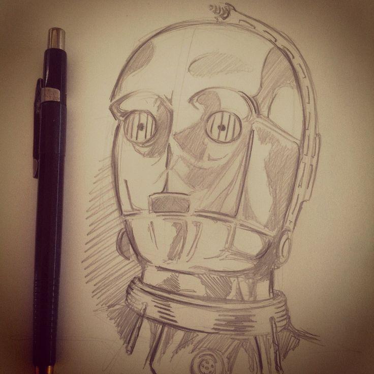 C3PO #starwars #c3po #starwarscountdown17 #betterlaterthennever #TheForceAwakens #sketch #art