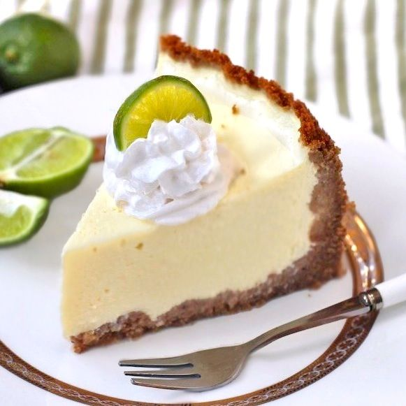 Healthy Key Lime Cheesecake? OH YES! It's rich, creamy, sweet and tangy, except it's guilt-free with less than HALF the calories of typical cheesecakes! (low sugar, high protein, gluten free)