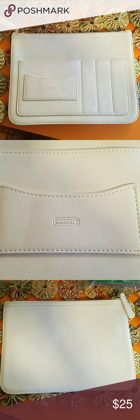 Coach business envelope This is an Immaculate bone colored business envelope / portfolio. The perfect size. Coach Bags Wallets