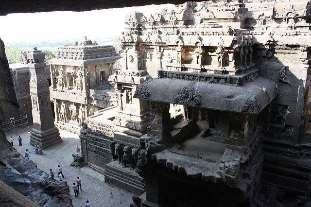 The Kailasa Temple in Ellora is the world's largest monolithic structure carved from one piece of rock - The temple architecture shows traces of Pallava and Chalukya styles
