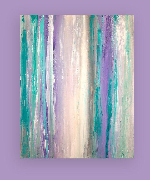 """Turquesa y púrpura acrílico pintura abstracta bellas arte Original titulado: esencia 24x30x1.5 """"por Ora Birenbaum"""