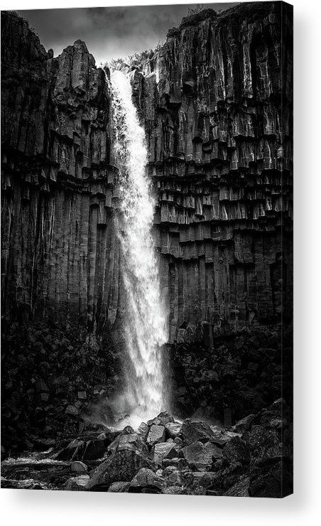 Waterfall black and white Acrylic Print for sale. Svartifoss waterfall in Iceland, Europe. The image gets printed directly onto the back of a sheet of clear acrylic. The image is the art - it doesn't get any cleaner than that! Matthias Hauser - Art for your Home Decor and Interior Design.