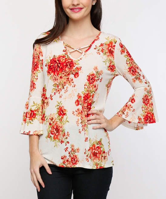 Ivory & Coral Floral Lace-Up Top