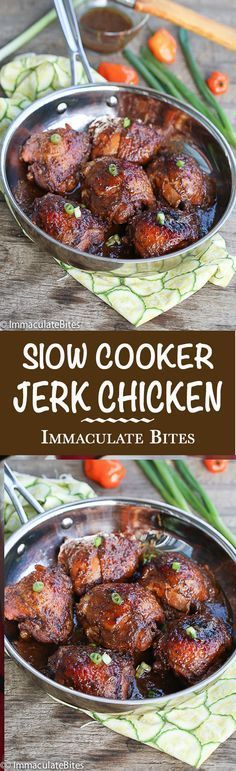 Slow cooker Jerk Chicken- Super flavorful and Super Easy Jerk Chicken with just the right amount of heat made in a crockpot.