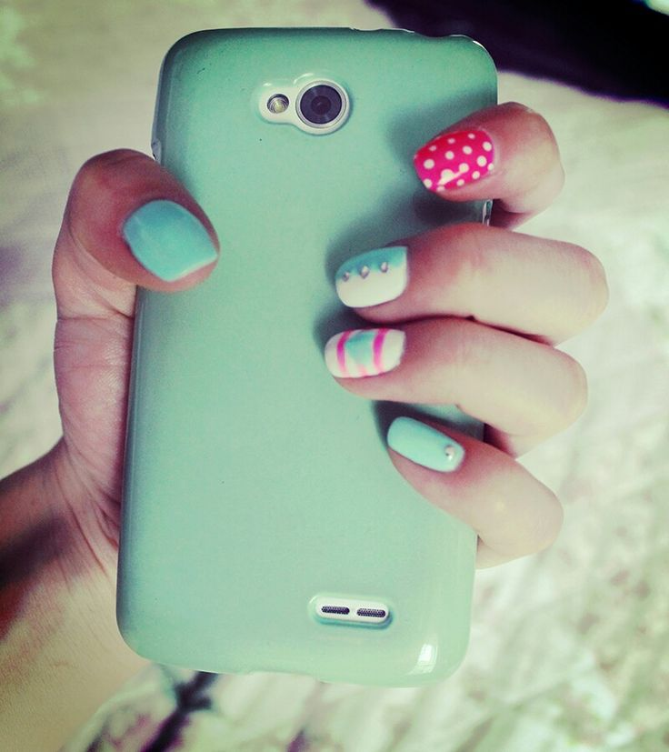 #Nails #pink #mint #white #lg
