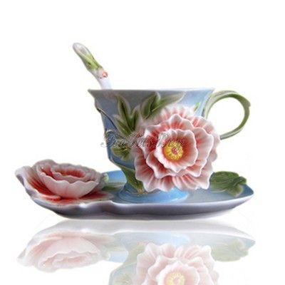 Peony Bone China Tea Cup And Saucer - TeaSetsBuy.