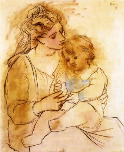 "Pablo Picasso, ""Mother and Child"" (1922). Oil on canvas, 100x81cm.  Baltimore Museum of Art.  This is so moving!  According to one commentator, the idealized image of the mother is a mélange of traits of Olga Picasso and Sara Murphy.  See http://www.mystudios.com/art/modern/picasso/picasso-mother.html."