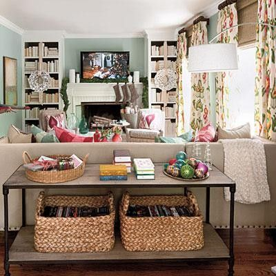 similar layout to my family room ... I like the built in bookshelves on either side of the fire place.