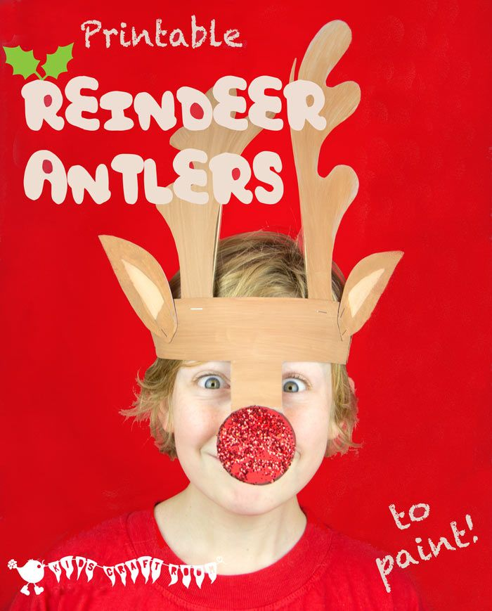 PRINTABLE REINDEER ANTLERS HAT - Make your own gorgeous and fun Reindeer Antlers. Print them onto plain card to paint or trace them straight onto coloured card. Easy Christmas fun for kids! #freeprintables #printables #christmascrafts #reindeercrafts #reindeer #rudolf #christmasforkids #christmashats #reindeerhat #antlers #rudolf #christmascraftsforkids  #printablecrafts #christmasideas #kidscraftroom via @KidsCraftRoom