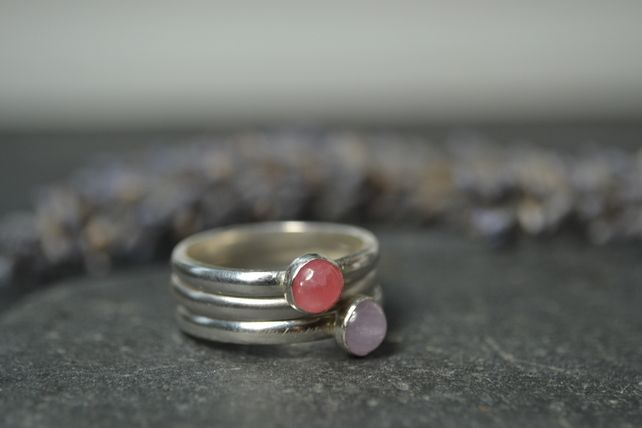 Sterling silver stacking rings - heather