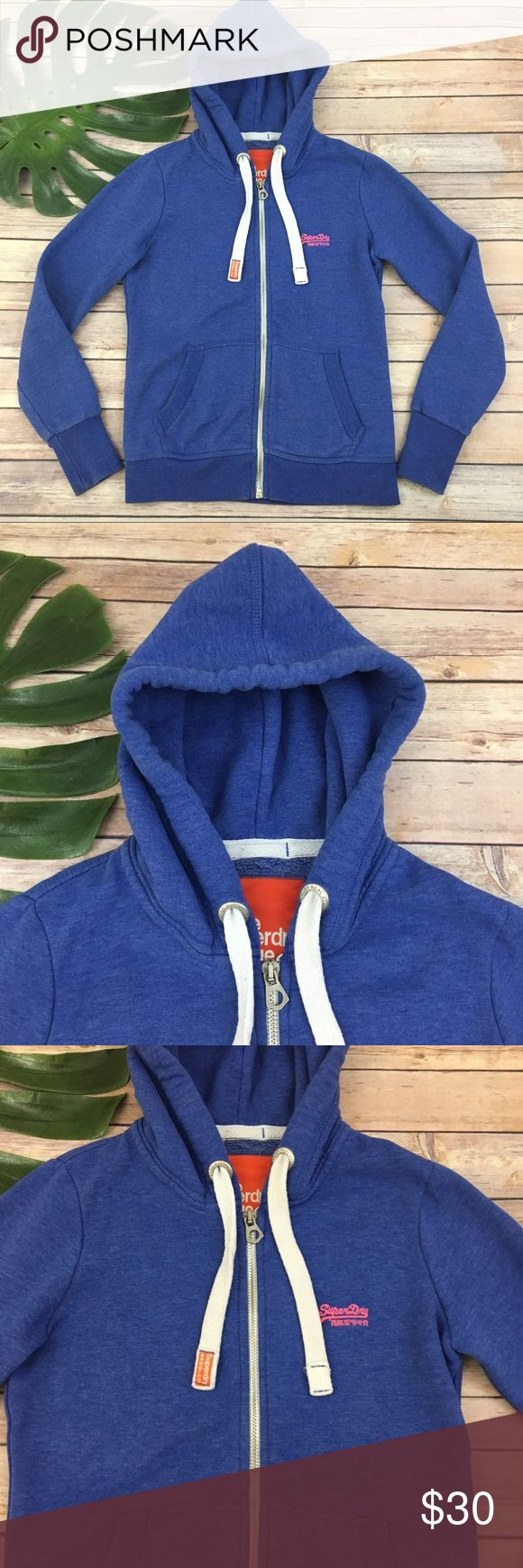 Super dry purple zip up hoodie sweatshirt Superdry women's purple zip up hoodie, size S. It is free from any rips or stains. It measures about 38 inches around the bust and is about 25 inches long. Super Dry Tops Sweatshirts & Hoodies