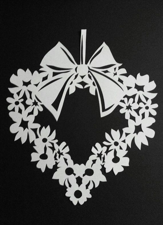 Valentinstag Paper Cut Scherenschnitt Modern Art von WattwurmAllerlei auf Etsy