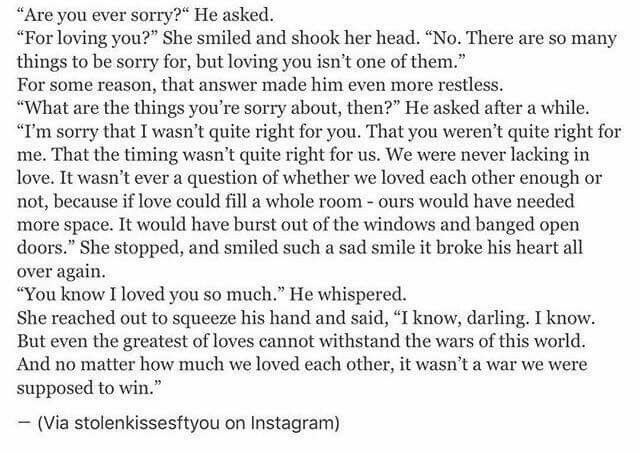 Made me cry, sometimes we do need to let go, no matter how much you love someone... There's someone out there who is perfect for you. There's no point staying in a relationship if, it's not working ❤️❤️❤️❤️