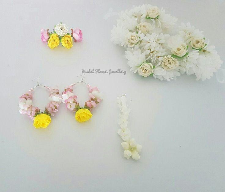 Silk floral by bridal flower jewellery www.bridalflowerjewellery.com #bridalflowerjewellery #mehndiflowers #mehnndijewellery #mehndi