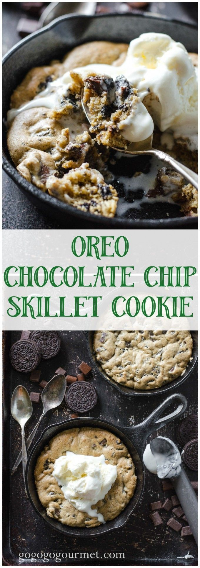 Unbelievable chocolate chip cookie, plus Oreo, warm from the oven and topped…