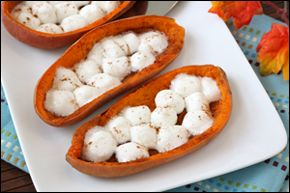 Healthy Holiday Side Dishes, Low-Fat Stuffed Mushrooms, Low-Calorie Sweet Potato Skins | Hungry Girl
