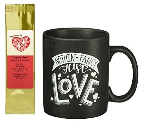 Nothin' Fancy Just Love Chalk Style Mug and Cupid's Kiss Chocolate Coconut Coffee Gift Set Bundle (2 Items)