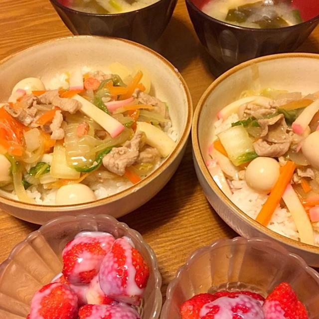 某お弁当やさんのCM観てたらめっちゃ食べたくなったので作りましたぁ(*`・з・´) - 38件のもぐもぐ - 中華丼〜豆腐とわかめのお味噌汁〜苺みるく(*p'∀'q) by sakutae