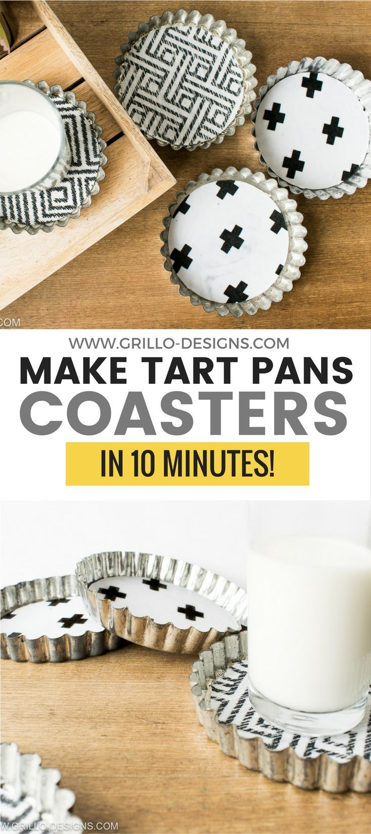 DIY coasters - learn how to make coasters for your cups by upcycling vintage style tart tins/pans.
