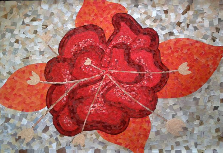 Exotic flower, paper mosaic collage from magazine pages, 100 X 70 cm
