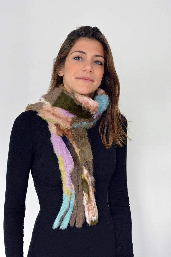 Women's Handmade Colorful Fur scarf made with Rabbit by lefushop