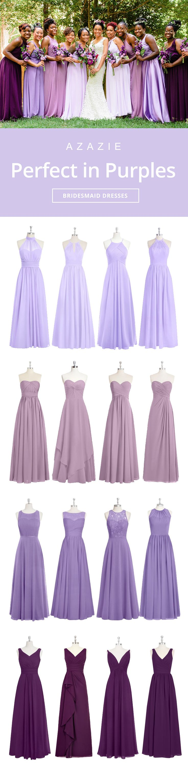 Mixing-and-match your bridesmaids in gorgeous purples. Wedding tip: Order color swatches to see the colors in our various fabrics for easy wedding planning!  | Photos courtesy of marlonming.com