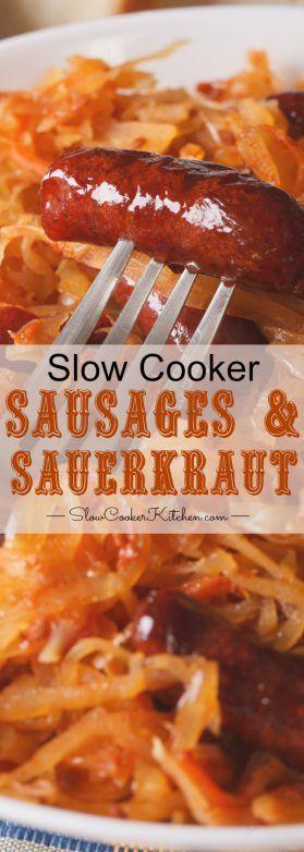 BBQ Slow Cooker Sauerkraut & Sausage! 5 ingredients, 5 minutes prep. Tasty too!  http://www.slowcookerkitchen.com/slow-cooker-sauerkraut-sausage/