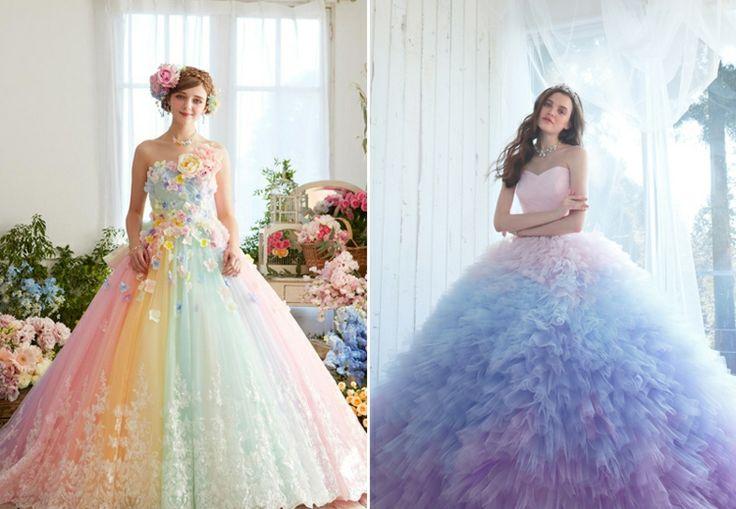 buntes regenbogen hochzeitskleid und ombre in lila und blau