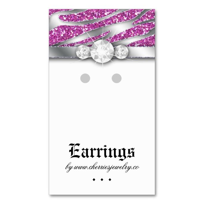 1565 best earring display card templates images on pinterest card earring display cards cute zebra sparkle jewelry double sided standard business cards pack of make your own business card with this great design reheart Choice Image