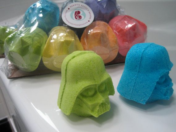 7 Darth Vader Shaped Bath Bombers - kid friendly bath bombs with surprise inside on Etsy, $18.00